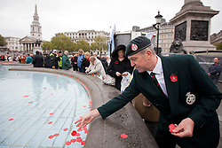 © Licensed to London News Pictures. 11/11/2013. London, UK. A former British Army Royal Green Jacket places poppies in one of Trafalgar Square's fountains after the 'Silence in the Square' ceremony, held by the Royal British Legion in London today (11/11/2013). The ceremony, culminating in a two minutes silence and the placing of poppies into the square's fountains, is held on the 11th hour of the 11th day to commemorate the signing of the armistice that ended the First World War.  Photo credit: Matt Cetti-Roberts/LNP<br /> <br /> © Licensed to London News Pictures. 11/11/2013. London, UK. Poppies and a cross, placed in Trafalgar Square's fountains by members of the public are seen after the 'Silence in the Square' ceremony, held by the Royal British Legion, in London today (11/11/2013).