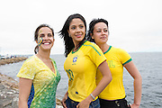 Brazillians Cassi Batista ,  Patricia Debaula and Eoiane Peres celebrating Brazil day on the prom in Salthill Galway before the arrival of The Volvo Ocean race competitors . picture :Andrew Downes.