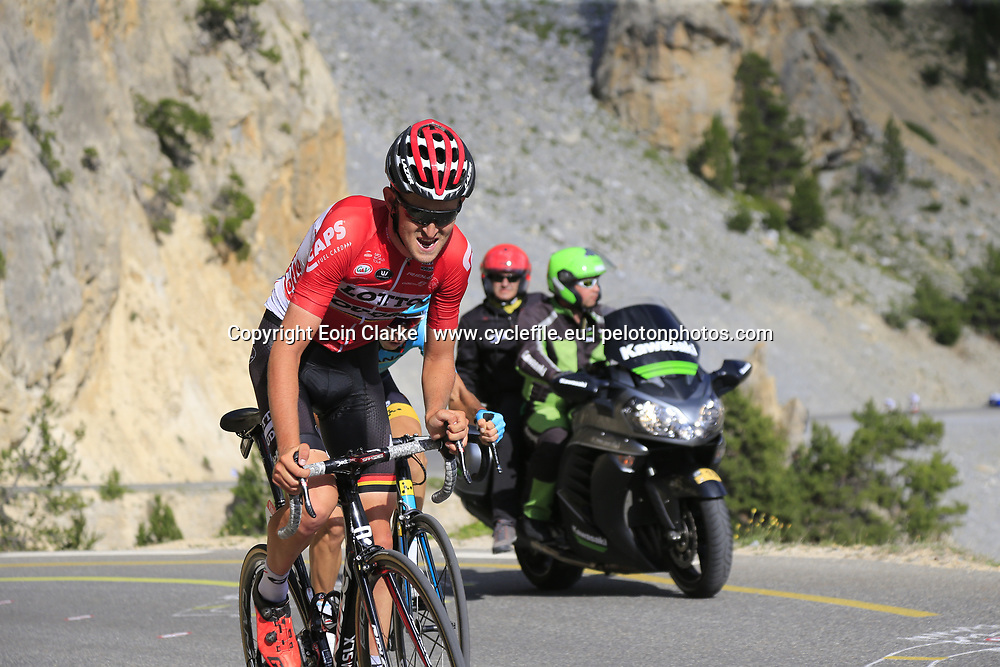 Tiesj Benoot (BEL) Lotto-Soudal climbs through the Caisse Deserte on Col d'Izoard during Stage 18 of the 104th edition of the Tour de France 2017, running 179.5km from Briancon to the summit of Col d'Izoard, France. 20th July 2017.<br /> Picture: Eoin Clarke | Cyclefile<br /> <br /> All photos usage must carry mandatory copyright credit (&copy; Cyclefile | Eoin Clarke)