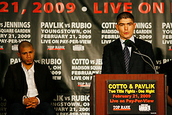 Jan 13, 2009; New York, NY, USA; Michael Jennings speaks at the press conference announcing his February 21, 2009 fight against Miguel Cotto.  The two fighters will meet at Madison Square Garden.