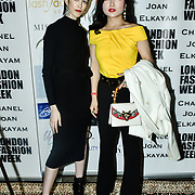 Designer Chanel Joan Elkayam herself and Kisin-K at The British luxury Womenswear designer, Chanel Joan Elkayam, showcases her Autumn - Winter 2020 show ahead of London Fashion Week on 13 February 2020 at Cecil Sharp House, London, UK.