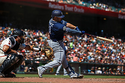 SAN FRANCISCO, CA - SEPTEMBER 01: Ty France #11 of the San Diego Padres hits a three run home run against the San Francisco Giants during the sixth inning at Oracle Park on September 1, 2019 in San Francisco, California. The San Diego Padres defeated the San Francisco Giants 8-4. (Photo by Jason O. Watson/Getty Images) *** Local Caption *** Ty France