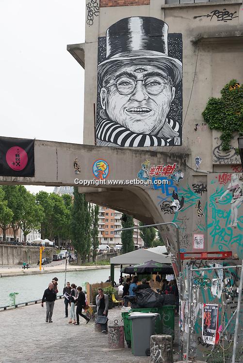 France. Paris,  11th district.  Canal Saint martin, Cafe ephemere/