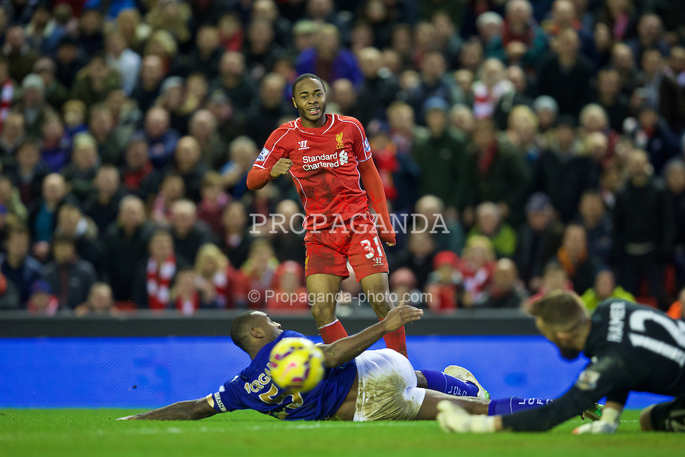 LIVERPOOL, ENGLAND - Thursday, New Year's Day, January 1, 2015: Liverpool's Raheem Sterling in action against Leicester City during the Premier League match at Anfield. (Pic by David Rawcliffe/Propaganda)