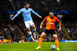 Bernardo Silva of Manchester City challenges Ismaily of Shakhtar Donetsk - Mandatory by-line: Robbie Stephenson/JMP - 26/11/2019 - FOOTBALL - Etihad Stadium - Manchester, England - Manchester City v Shakhtar Donetsk - UEFA Champions League Group Stage