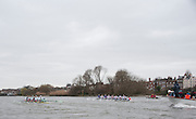 Putney. London, Varsity Fixtures,  CUBC start to power away from NED. OUBC vs Molesey BC. and CUBC vs Select NED crew. on the championship Course Putney to Mortlake.  ENGLAND. <br /> <br /> Saturday  21/03/2015<br /> <br /> [Mandatory Credit; Intersport-images]