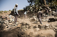 Villagers dig the waterpoint ahead of the work to cap the source, Adi Sibhat, Tigray, Ethiopia