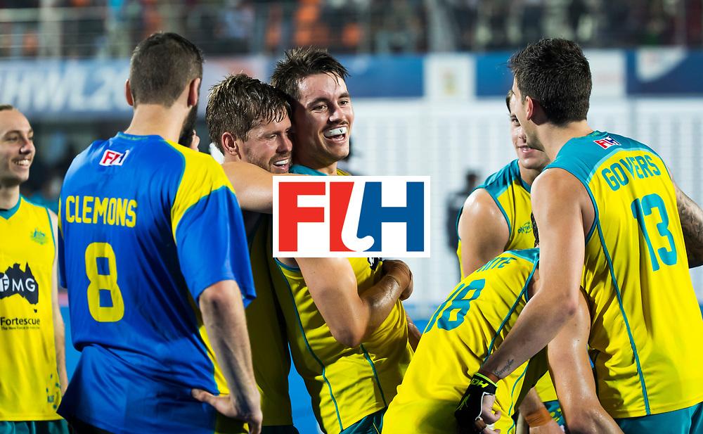 BHUBANESWAR - Vreugde bij o.a. Jeremy Hayward (Aus) na de finale.  Hockey World League finals , Final Australia-Argentina (2-1) . Australia wint de finale. COPYRIGHT KOEN SUYK