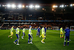 Diego Costa of Chelsea and his team warm up - Photo mandatory by-line: Rogan Thomson/JMP - 07966 386802 - 17/02/2015 - SPORT - FOOTBALL - Paris, France - Parc des Princes - Paris Saint-Germain v Chelsea - UEFA Champions League, Last 16, First Leg.
