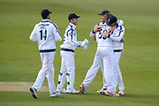 Hampshire celebrate the wicket of Dawid Malan of Middlesex during the Specsavers County Champ Div 1 match between Hampshire County Cricket Club and Middlesex County Cricket Club at the Ageas Bowl, Southampton, United Kingdom on 16 April 2017. Photo by David Vokes.