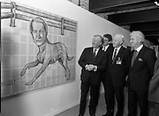19/08/1988<br /> 08/19/1988<br /> 19 August 1988<br /> Taoiseach visits ROSC '88 at the Guinness Hop Store, Dublin.  Taoiseach Charles Haughey (left) is amused by his likeness in an exhibit with and Mr Brian Slowey, (centre) Managing Director, Guinness,Ireland and Pat Murphy ROSC Chairman.