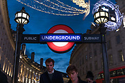 London, England, Uk, November 25 2018 - In the footsteps of Claude Monet in London: Picadilly Circus, near Regent Street and the Café Royal where Monet used to go.