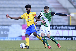 February 17, 2018 - Brussels, BELGIUM - Union's Jordan Massengo and Cercle's Dylan De Belder fight for the ball during a soccer game between Union Saint-Gilloise and Cercle Brugge, in Brussels, Saturday 17 February 2018, on day 27 of the division 1B Proximus League competition of the Belgian soccer championship. BELGA PHOTO YORICK JANSENS (Credit Image: © Yorick Jansens/Belga via ZUMA Press)