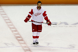May 1, 2011; San Jose, CA, USA;  Detroit Red Wings right wing Todd Bertuzzi (44) warms up before game two of the western conference semifinals of the 2011 Stanley Cup playoffs against the San Jose Sharks at HP Pavilion. San Jose defeated Detroit 2-1. Mandatory Credit: Jason O. Watson / US PRESSWIRE