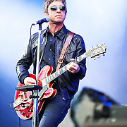 Noel Gallagher in concert at the Pemberton Music Festival.  Pemberton BC, Canada