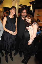Left to right, SAMANTHA CAMERON, TIM BURTON and HELENA BONHAM-CARTER at a party to celebrate the launch of the book 'Long Way Down' by Ewan McGregor and Charley Boorman held at Smythson, 40 New Bond Street, London W1 on 19th November 2007,<br />