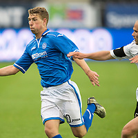Rosenborg v St Johnstone....18.07.13  UEFA Europa League Qualifier.<br /> DAVID WOTHERSPOON HOLDS OFF MIKAEL DORSIN<br /> Picture by Graeme Hart.<br /> Copyright Perthshire Picture Agency<br /> Tel: 01738 623350  Mobile: 07990 594431