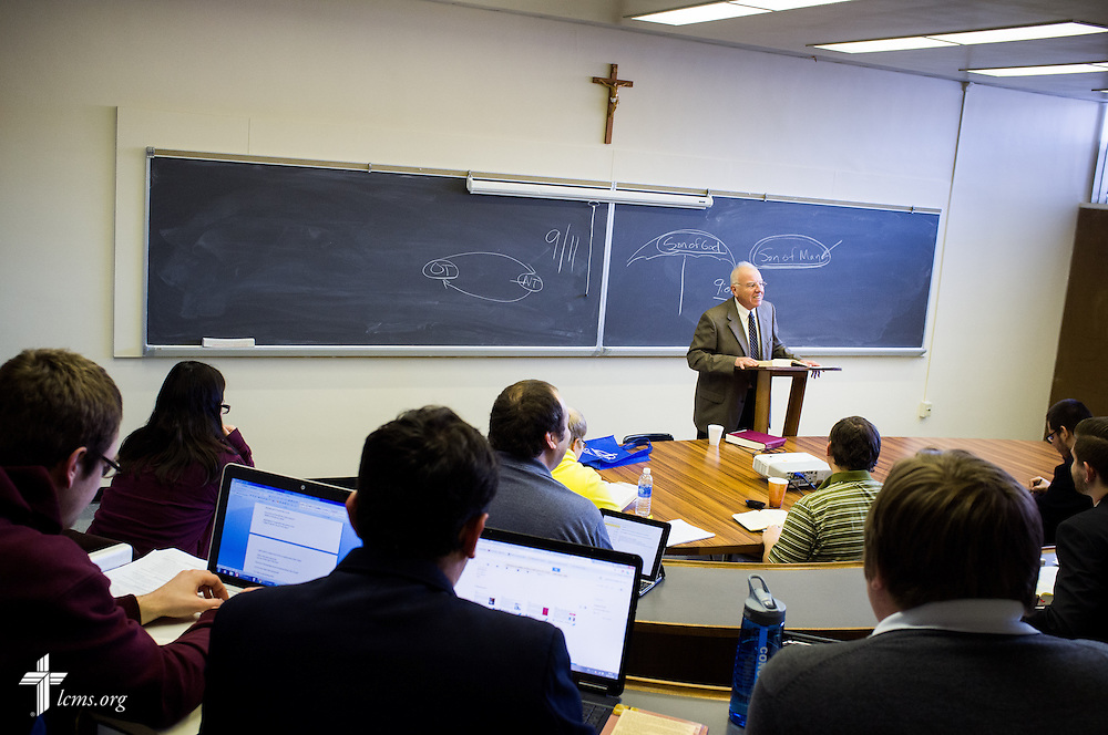 Dr. David Scaer lectures in a classroom at Concordia Theological Seminary on Monday, Jan. 20, 2014, in Fort Wayne, Ind. LCMS Communications/ Erik M. Lunsford