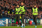 Nir Bitton of Celtic FC leads out the substitute's  Tom Rogic of Celtic FC & Mikey Johnston of Celtic FC during the Betfred Scottish League Cup Final match between Rangers and Celtic at Hampden Park, Glasgow, United Kingdom on 8 December 2019.