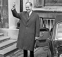 Thumb's up from Ulster Unionist leader Captain Terence O'Neill as he leaves Parliament Buildings, Stormont, Belfast, N Ireland, 28th February 1969 after first meeting of the parliamentary party following the General Election of 24th February 1969, a few days earlier. At the meeting ten or twelve MPs who opposed his leadership walked out led by John D Taylor. 196902280082a<br /> <br /> <br /> Copyright Image from<br /> Victor Patterson<br /> 54 Dorchester Park<br /> Belfast, N Ireland, UK, <br /> BT9 6RJ<br /> <br /> t1: +44 28 90661296<br /> t2: +44 28 90022446<br /> m: +44 7802 353836<br /> e1: victorpatterson@me.com<br /> e2: victorpatterson@gmail.com<br /> <br /> www.victorpatterson.com