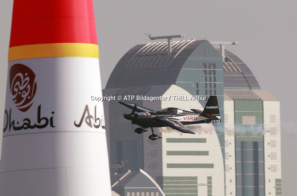 Pete McLEOD, Canada, 3rd placed. <br /> ABU DHABI 14. February 2015 - Air Race, Red Bull Air Race event in the United Arab Emirates - UAE, <br /> Flugzeug Rennen in den Vereinigte Arabische Emirate, Honorarpflichtiges Foto, Fee liable image, Copyright &copy; ATP THILL Arthur