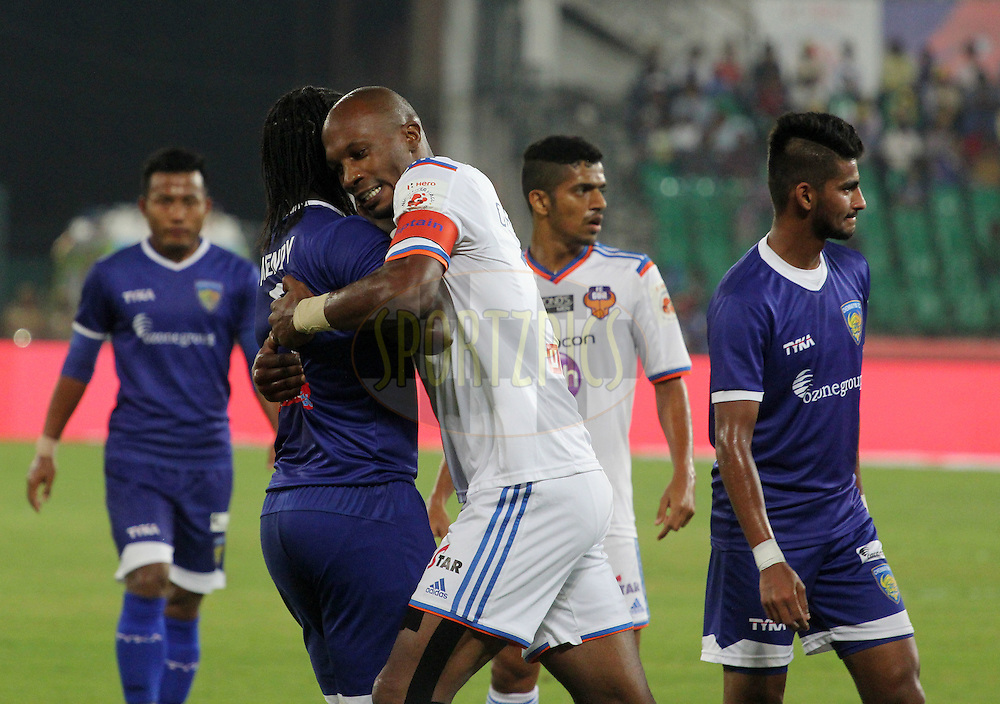 Gregory Arnolin of FC Goa and Bernard Mendy of Chennaiyin FC during match 50 of the Hero Indian Super League between Chennaiyin FC and FC Goa held at the Jawaharlal Nehru Stadium, Chennai, India on the 5th December 2014.<br /> <br /> Photo by:  Vipin Pawar/ ISL/ SPORTZPICS