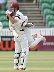 Peter Trego celebrates James Hildreth's double century.<br />