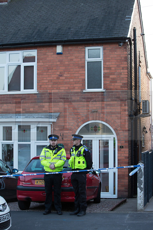 © Licensed to London News Pictures. 2/11/2016. Welwyn Road, Hinckley, Leicestershire, UK. The scene at No 7 Welwyn Road, Hinckley, Leicestershire  earlier today. Photo credit: Dave Warren/LNP © Licensed to London News Pictures. 2/11/2016. Hinckley, UK. The scene where father and his two sons have been found dead after a four-hour stand-off with police at their home in Hinckley, Leicestershire. Photo credit: Dave Warren/LNP