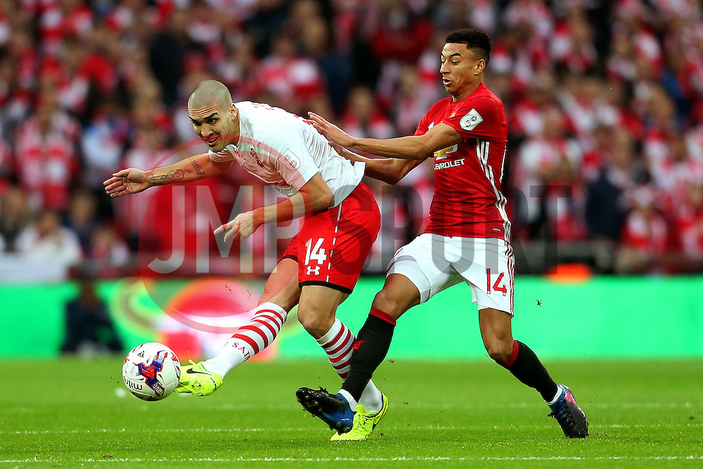 Oriol Romeu of Southampton is challenged by Jesse Lingard of Manchester United  - Mandatory by-line: Matt McNulty/JMP - 26/02/2017 - FOOTBALL - Wembley Stadium - London, England - Manchester United v Southampton - EFL Cup Final