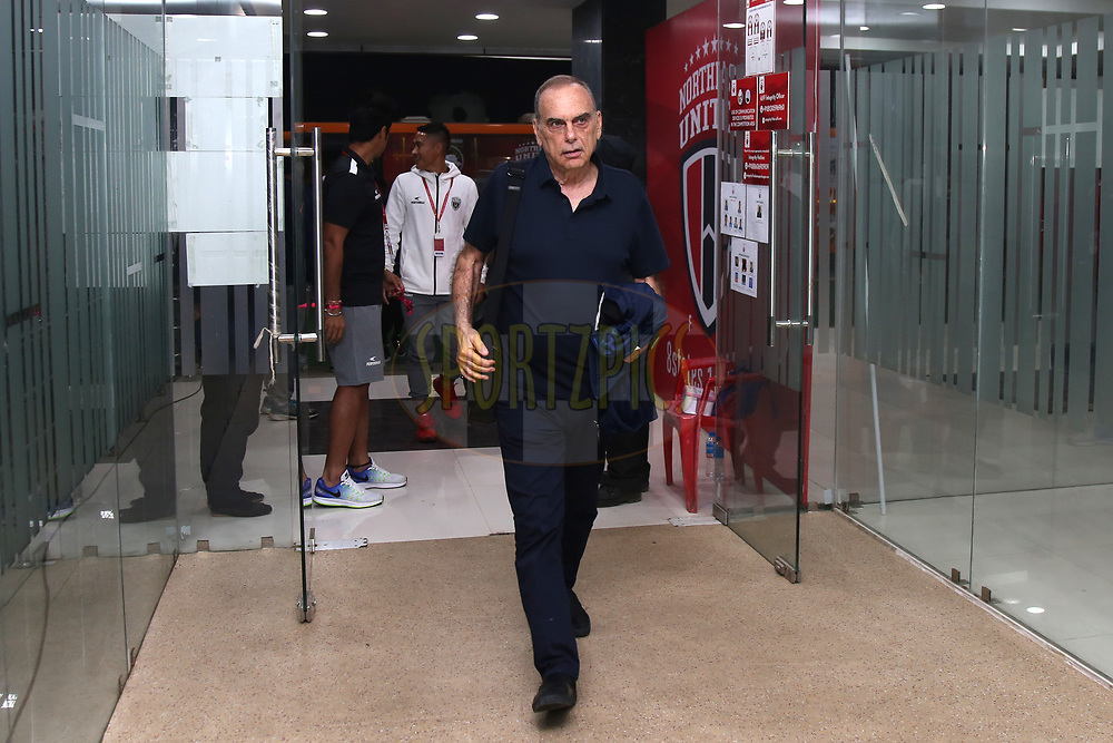Avram Grant of Northeast United FC arrives during match 45 of the Hero Indian Super League between NorthEast United FC and ATK  held at the Indira Gandhi Athletic Stadium, Guwahati India on the 12th January 2018<br /> <br /> Photo by: Deepak Malik  / ISL / SPORTZPICS