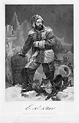 Elisha Kent Kane (1820-57) American naval surgeon and Arctic explorer in polar dress. Kane took part in the Franklin Search Expedition of 1850-1851. Engraving 1862.