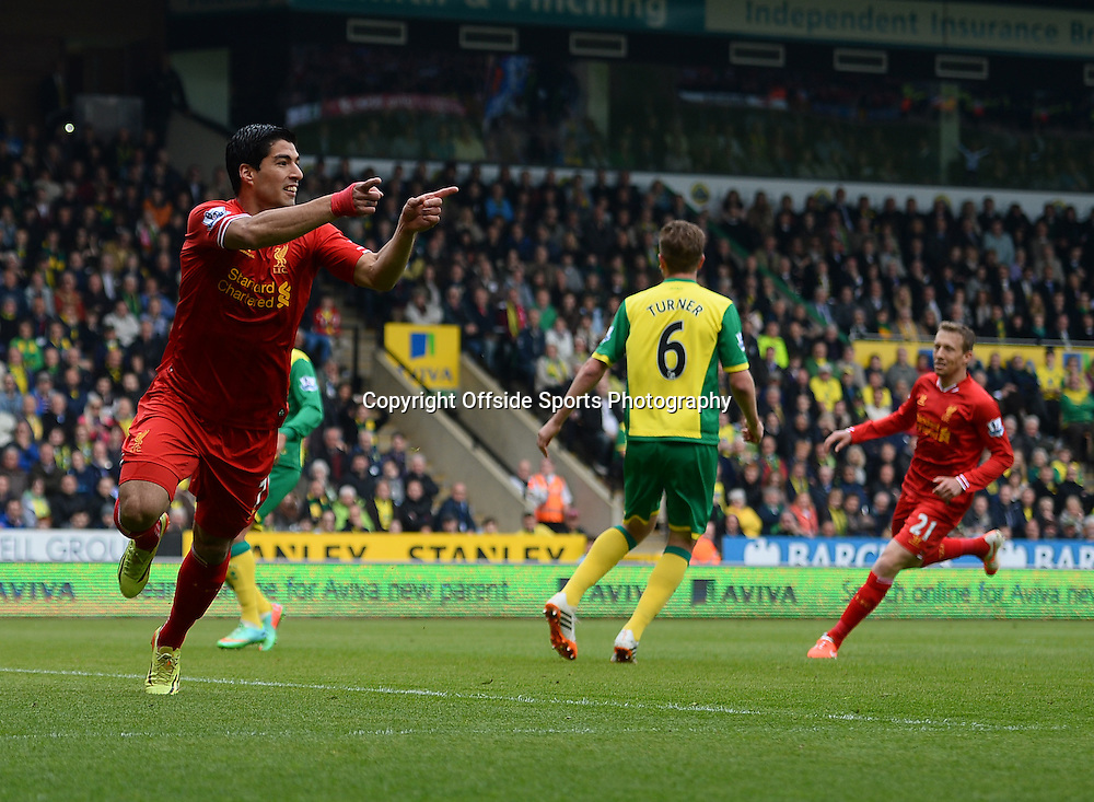 20 April 2014 - Barclays Premier League - Norwich City v Liverpool - Luis Suarez of Liverpool celebrates scoring the 2nd goal - Photo: Marc Atkins / Offside.