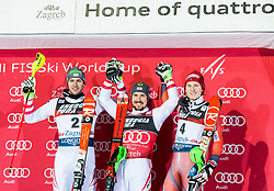 """Second placed Michael Matt (AUT), winner Marcel Hirscher (AUT) and third placed Henrik Kristoffersen (NOR) celebrate at Trophy ceremony after the 2nd Run of FIS Alpine Ski World Cup 2017/18 Men's Slalom race named """"Snow Queen Trophy 2018"""", on January 4, 2018 in Course Crveni Spust at Sljeme hill, Zagreb, Croatia. Photo by Vid Ponikvar / Sportida"""