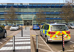© Licensed to London News Pictures. 05/03/2019. London, UK. A police car at the scene at Compass Centre, Heathrow Airport as police deal with a suspicious package. Similar incidents have been reported at Waterloo Station and London City airport. Photo credit: Ben Cawthra/LNP