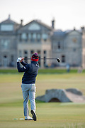 Stephen Gallacher plays his tee shot on the 18th during the Alfred Dunhill Links Championships 2018 at St Andrews, West Sands, Scotland on 6 October 2018.