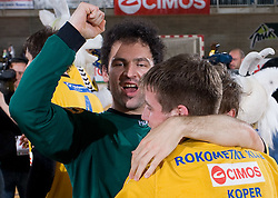 Darko Stanic and Rok Rapotec celebrate at Final match of Slovenian Men Handball Cup between RK Cimos Koper and RK Celje Pivovarna Lasko, on April 19, 2009, in Arena Bonifika, Koper, Slovenia. Cimos Koper won 24:19 and became Slovenian Cup Champion. (Photo by Vid Ponikvar / Sportida)
