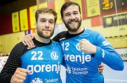 Goalkeepers Klemen Ferlin of RK Gorenje and Benjamin Buric of RK Gorenje celebrate after winning during handball match between RK Gorenje Velenje (SLO) and Pfadi Winterthur (SUI) in Group Phase of EHF European Cup 2014/15, on March 8, 2015 in Rdeca dvorana, Velenje, Slovenia. Photo by Vid Ponikvar / Sportida