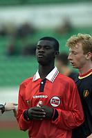 Fotball. Landskamp U21 Norge-Belgia. Nadderud Stadion 25.4.2000. Norges Pa-Modou Kah, Vålerenga Fotball. Foto: Digitalsport.