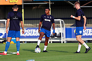 AFC Wimbledon Kyron Stabana (14) warming up during the Pre-Season Friendly match between AFC Wimbledon and Crystal Palace at the Cherry Red Records Stadium, Kingston, England on 30 July 2019.