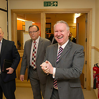 Health Secretary Alex Neil visit to Ward 4, Ninewells Hospital, Dundee...16.01.13<br /> Alex Neil cleans his hands as he arrives at Ward 4 with from left Gerry Marr Chief Exec NHS Tayside and Sandy Watson Chairman NHS Tayside.<br /> Picture by Graeme Hart.<br /> Copyright Perthshire Picture Agency<br /> Tel: 01738 623350  Mobile: 07990 594431