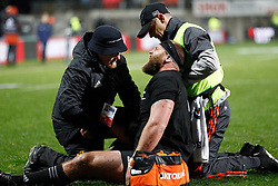 New Zealand's Joe Moody winces as medical staff attend to an injury sustained against Argentina in the Investic Rugby Championship Test match at Yarrow Stadium, New Plymouth, New Zealand, Saturday, September 09, 2017. Credit:SNPA / Dean Pemberton  **NO ARCHIVING**