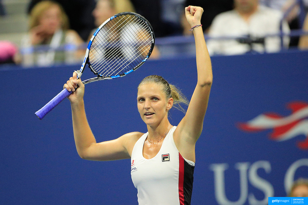 2016 U.S. Open - Day 11  Karolina Pliskova of the Czech Republic celebrates her victory against Serena Williams of the United States in the Women's Singles Semifinal match on Arthur Ashe Stadium on day eleven of the 2016 US Open Tennis Tournament at the USTA Billie Jean King National Tennis Center on September 8, 2016 in Flushing, Queens, New York City.  (Photo by Tim Clayton/Corbis via Getty Images)
