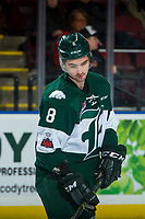 KELOWNA, CANADA - FEBRUARY 2: Patrick Bajkov #8 of the Everett Silvertips warms up against the Kelowna Rockets on FEBRUARY 2, 2018 at Prospera Place in Kelowna, British Columbia, Canada.  (Photo by Marissa Baecker/Shoot the Breeze)  *** Local Caption ***