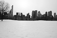 New York. Central park under the snow. The sheep meadow and Manhattan skyline / Central park sous la neige.