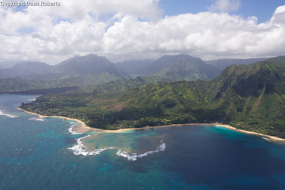 Aerial view of the North Shore of Kauai in the Haena Beach area.