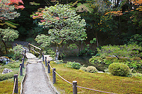 Japan Kyoto Tenju-an Temple garden with footpath and bridge