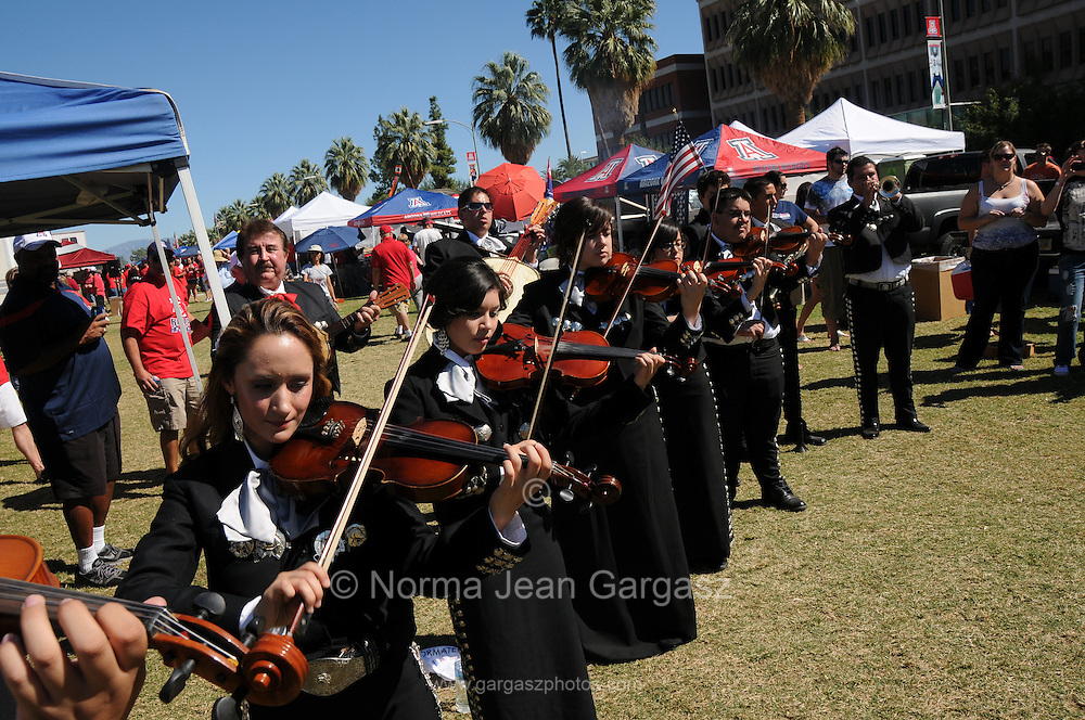 UA Arizona Mariachi performs at Hispanic Heritage Day Tailgate Fiesta on the UA Mall during tailgating before a UA football game at the University of Arizona, Tucson, Arizona, USA.