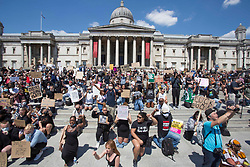 © Licensed to London News Pictures. 11/02/2019. London, UK. Black Lives Matter protestors rally in Trafalgar Square in central London following the death of George Floyd in Minnesota, USA . Photo credit: Marcin Nowak/LNP