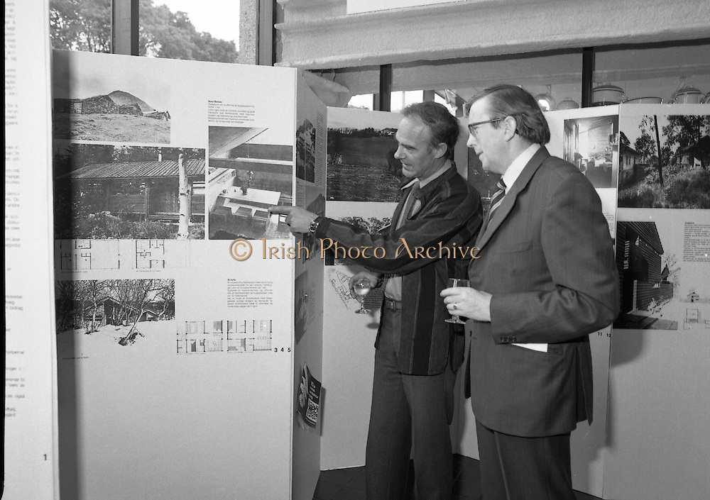 "20/06/1979.06/20/1979.20th June 1979.An exhibition of photographs presented by the Norwegian Foreign Ministry as a gift to the Department of Architecture, Bolton Street, Dublin entitled ""New Architecture from Norway"" opened at the Kilkenny Design Shop, Nassau Street. Picture shows Mr Ragnvald Bing Lorentsen, (left) President of the Norwegian Architects League showing part of the exhibition to Mr John J O'Keeffe, Head of the Department of Architecture."