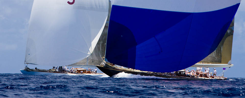 J Class Velsheda and Ranger sailing in the Butterfly Race at the Antigua Classic Yacht Regatta.